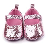 M2cbridge Baby Girl's Bow Dress Shoe Infant Toddler Pre-walker Crib Shoe (0-6 Months, Pink Glitter)
