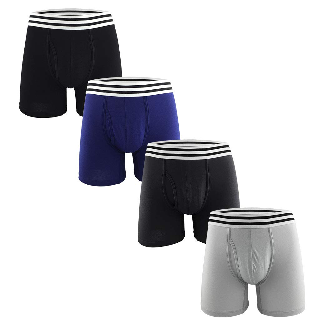 Men's Cotton Classic Pouch Boxer Briefs with Open Fly Underwear - 4 Pack