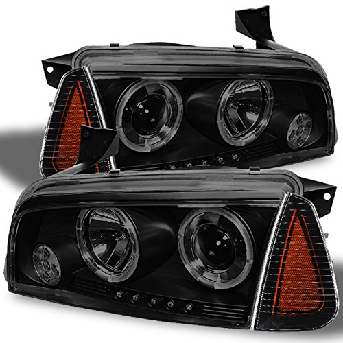 For 2006-2010 Dodge Charger LX Black Smoked Dual Halo Ring LED Projector Headlights + Amber Corner Lamp Pair ()