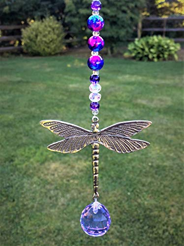 Rear View Mirror Tie Dye Car Charm Suncatcher,Glass and Crystal Bead Hanging Ornament,Dragonfly Pendant,Hanging Purple Ball Prism,Car Rear View Mirror Accessory,Feng Shui Rainbow Maker Window Decor ()