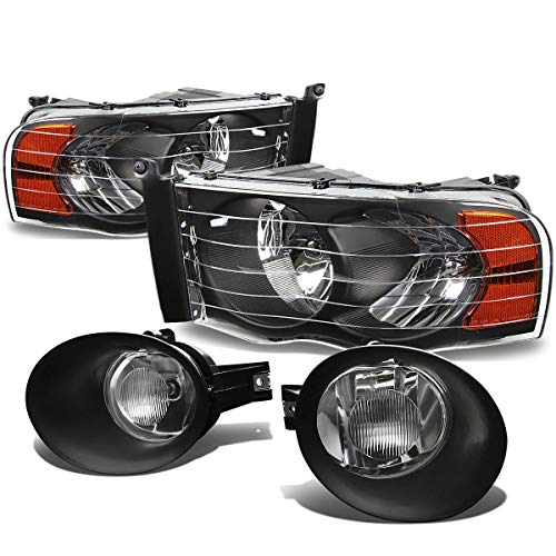 For Dodge Ram Black Housing Headlight+Crystal Fog ()