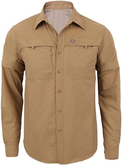 Wodechenshan Camisas Casual para Hombre,Otoño De Moda Casual Quick-Drying Caqui Militar Camisa Manga Larga Camisa Casual Hombres Harajuku Chemise: Amazon.es: Deportes y aire libre