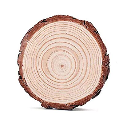 Natural Pine Round Unfinished Wood Slices Circles With Tree Bark Log Discs Pack