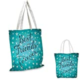 Quote Fashion Shopping Tote Bag Best Friends Forever Message on Scribbled and Hatched