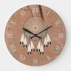 Moonluna Native American Dreamcatcher Nursery Wooden Wall Clock Battery Operated Roman Numerals Silent Non-Ticking 14 Inches Kids Clock