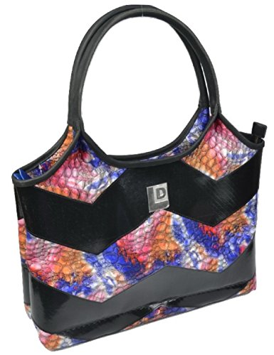Landfill Dzine - Vegan Upcycled Bright Multi Colored Tote Bag (Billboard Messenger Bag)