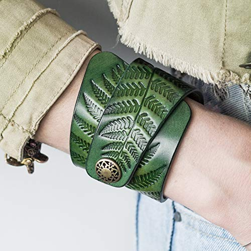 Green Leather Bracelet for Women, Hand Painted, Embossed Pattern, Metal Snap ()