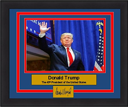 Donald Trump 45th President of the United States 8x10 Framed and Matted Photo with Engraved Signature Signature Framed Picture