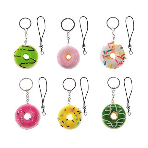 6pcs Künstliche Donut Charm Anhänger Handy Cell Phone Strap