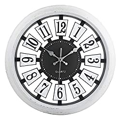 Vintage Wall Clock Non-Ticking Hollow Nordic Wall Clocks Battery Operated 14 Inch Easy To Read ,Off-White