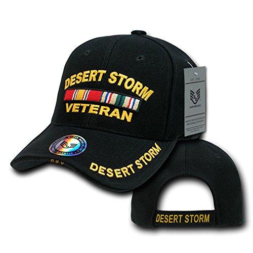 Rapid Dominance Desert Storm Veteran 3D Deluxe Embroidered Military Baseball Cap - Black