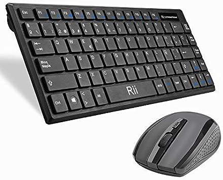 Rii RK700 Combo Ratón y Teclado Inalámbrico para Android/Windows/Mac/Linux y Otros Dispositivos con USB-QWERTY Español,Color Negro