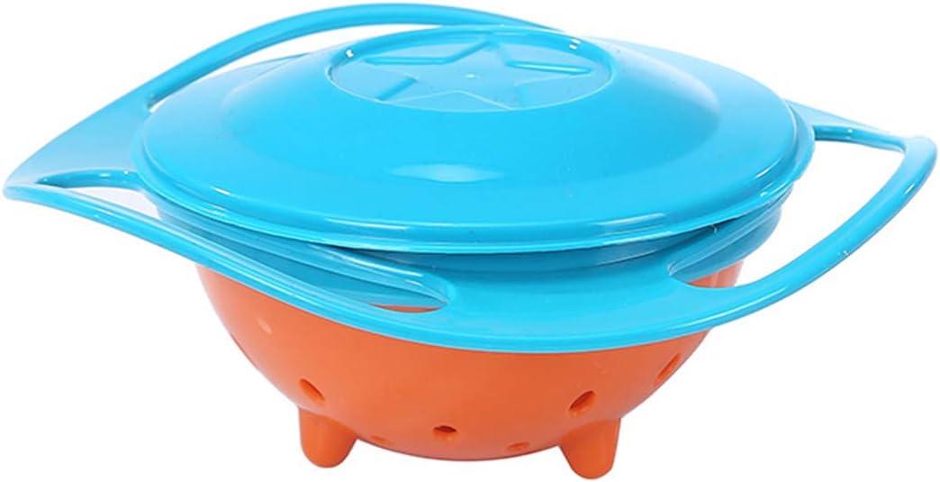 360 Grados Giratorio Gyro Bowl beb/é ni/ños ni/ños No derrame Equilibrio Alimentaci/ón Alimentaci/ón Color : Azul