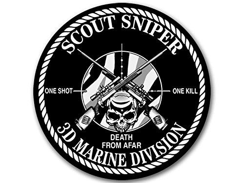 American Vinyl Round 3D Marine Division Scout Sniper Sticker (3rd Logo Bumper one Shot Kill afar Third) ()