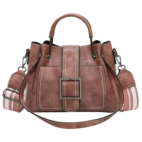 GBSELL Fashion Women's Vintage Leather Corssbody Shoulder Bags Handbag with Wide Belt (Pink) by GBSELL
