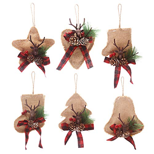 Kyatti 6ct Rustic Christmas Tree Ornaments Natural Burlap Country Xmas Hanging Decorations Stocking Glove Tree Bell Star Heart with Deer Head Pine Cones Black-Red Plaid Ribbon for Holiday Party Decor (Plaid Rustic Decor Christmas)