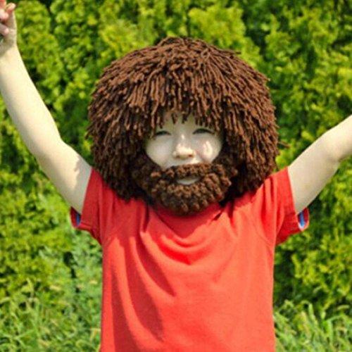 [Creazy®Beard Wig Hats Handmade Knit Warm Winter Caps Men Women Kid BW] (Costumes With Beards)