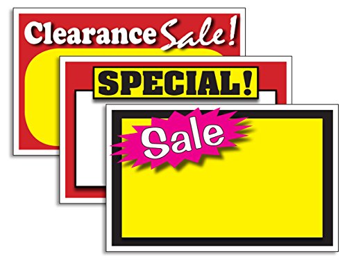 150 ASSORTED RETAIL STORE PRICE SIGNS: NEW! CLEARANCE/SALE/SPECIAL LOT OF 150