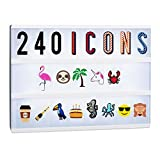 Relaxdays Lightbox Extension Set, 240 Crazy Icons, Accessory Kit with Letters and Numbers, Colourful Light Box Symbols