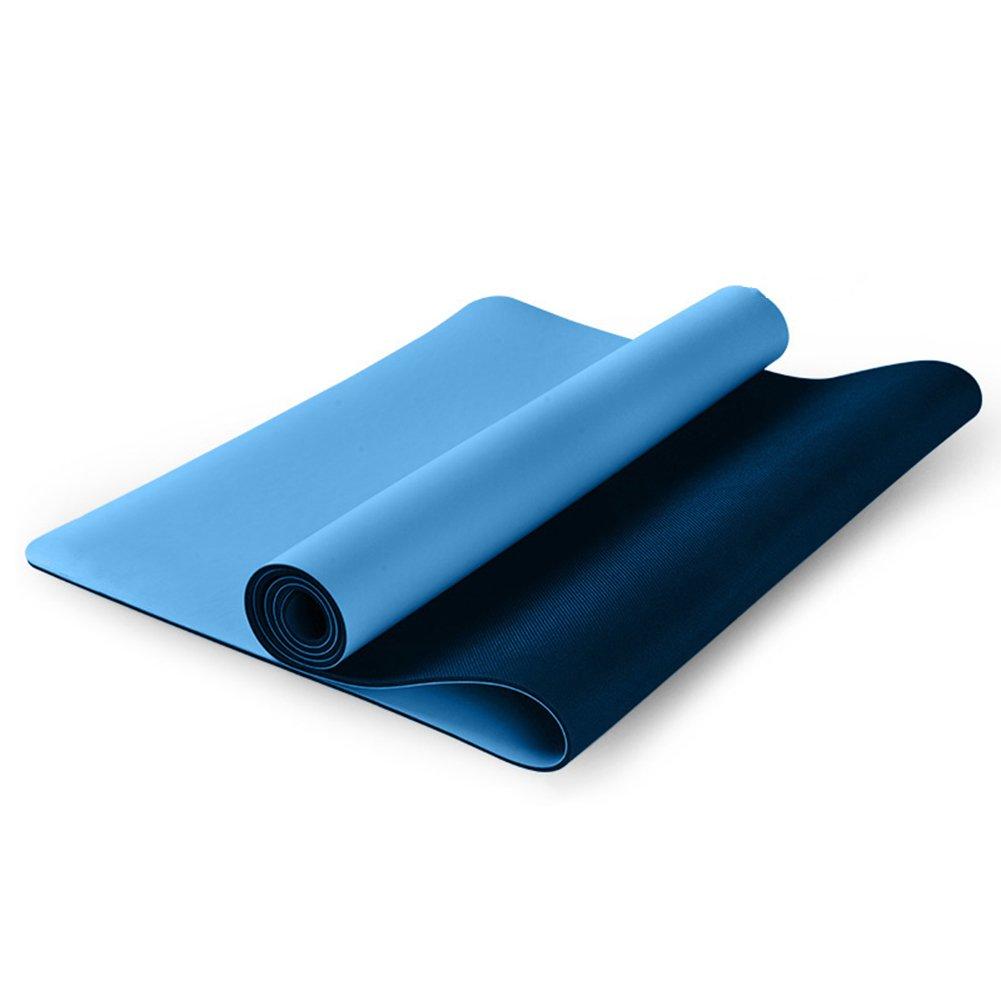QIDI Yogamatte Fitness Rutschfest Gummi Tanzen Kissen Zusammenklappbar 183  68  0,5cm (Farbe : Blau-1)