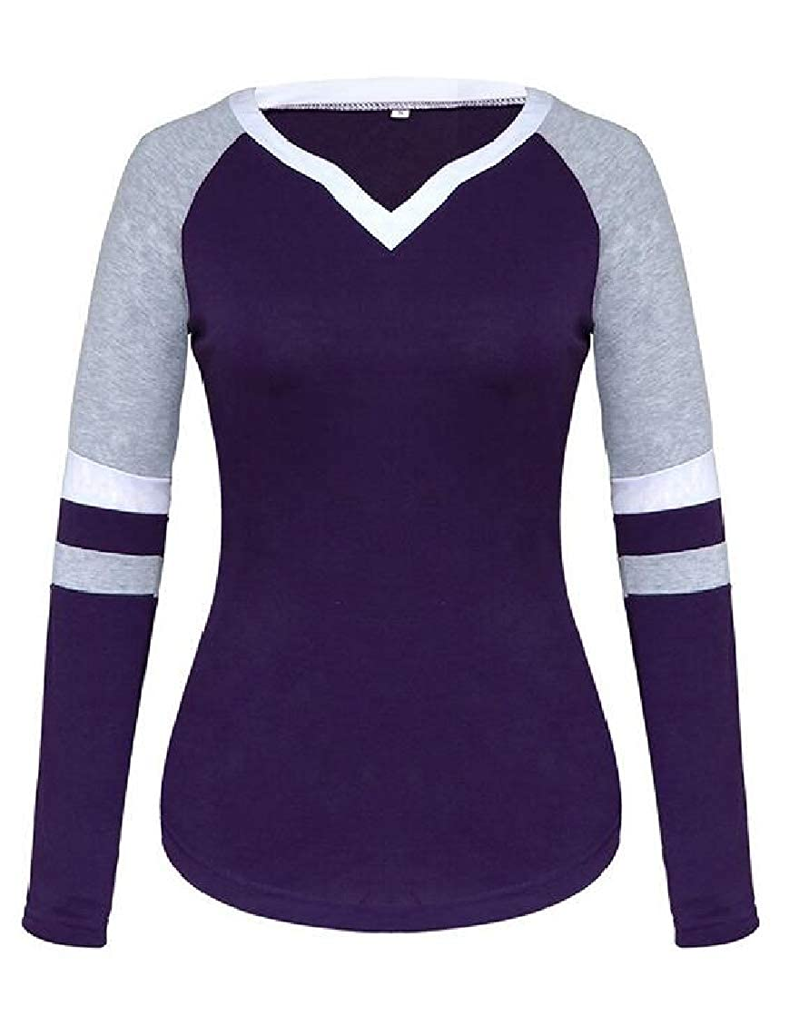 Joe Wenko Women Raglan Sleeve Casual Contrast Color V Neck Striped Pullover Top Blouse T-Shirts