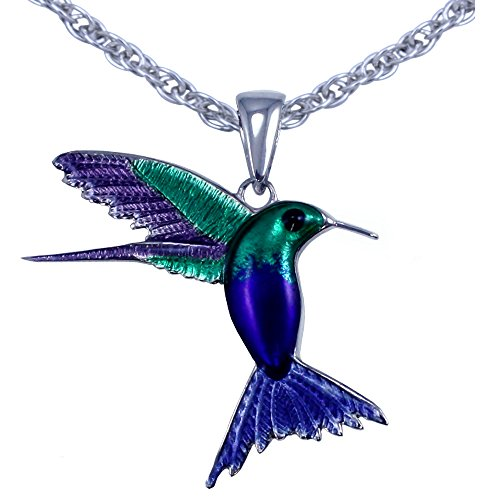 Sterling Hummingbird Pendant (Guy Harvey Enameled Hummingbird Pendant Crafted in Sterling Silver with 18 Inch Necklace Chain)