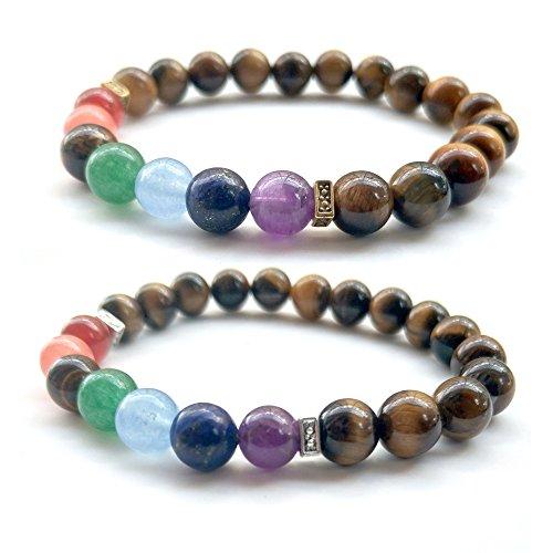 (2PCS Lava Stone Healing Yoga Bracelet Tiger Eye 7 Chakra Natural African Beads 8MM Strand Ethnic Handmade)