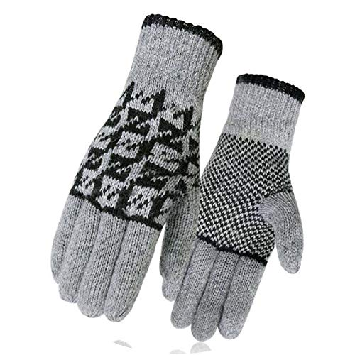 Winter Thermal Gloves Unisex Plaid Cashmere Man Women Winter knit Keep Warm Mittens Gloves,Plaid Light gray