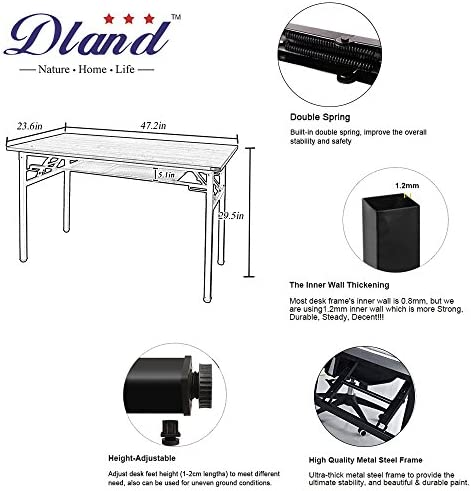 DlandHome 47 inches Computer Desk Office Table Activity Table Writing Desk Study Table Folding Table with Storage Layer Computer Workstation for Home Office Black DND-ND7-120BB