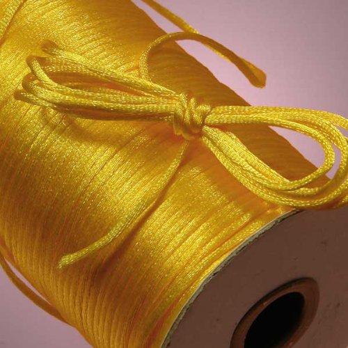 Ben Collection 2mm Satin Rattail Cord 100 Yard X 5 Rolls (500 Yard) Nylon Trim Cord Chinese Knot (Yellow Gold)