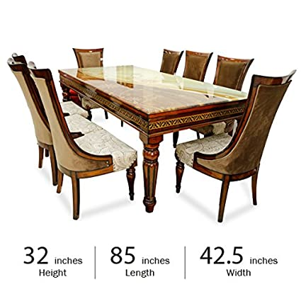 Stallion Traders Brown Burma Teak Wood 8 Seater Dinning Table With Marble Top Amazon In Home Kitchen