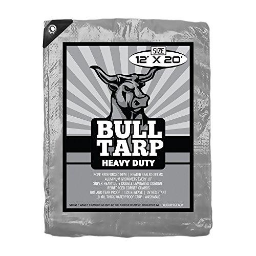 Bull-Tarp Super Heavy Duty, Silver / Black, Waterproof, Tent Shelter, Tarpaulin, Fire Wood Cover, Multi-purpose Heavy Duty Poly Tarp, Reinforced Grommets Every 18