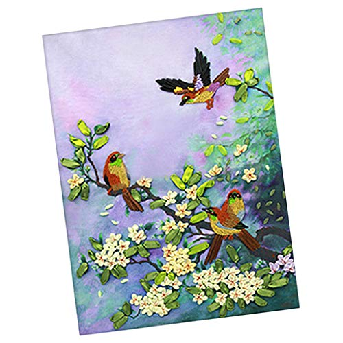 Baosity Handmade Ribbon Embroidery Kits DIY Bird Bouquet Painting Wall Decoration Stamp Embroidery kit No - Bird Silk Embroidery