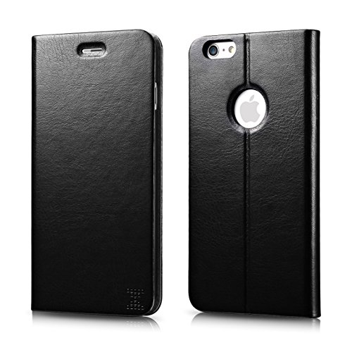 """Iphone 6 Plus Case, Xboun Elegant Series Pu Leather Folio Stand Flip Cover Case [1 Card Slots] with Matte Finish for Iphone 6 5.5"""" (Black)"""