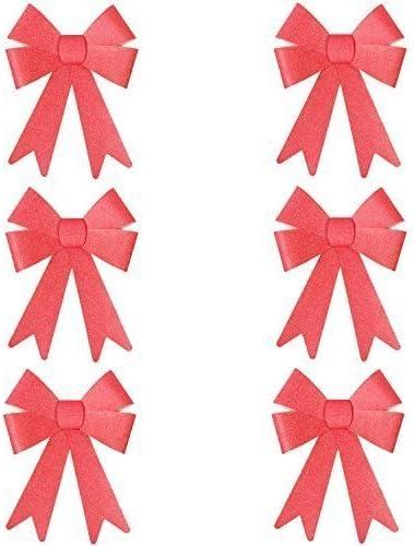 Gold 6 x S Robelli Natale Glitter Fiocco Decorazioni Pre-Annodato per Albero//Regali//Tavolo