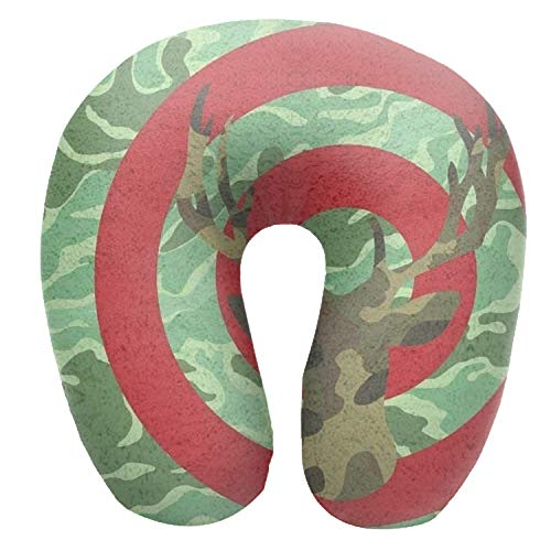 Camouflage Moose Targets U Shaped Air Pillow Neck Head Cushion Support Rest Outdoors Car Office Home Travel Pillow