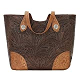 American West Annie's Secret Collection Large Zip Top Tote, Chestnut Brown / Golden Tan