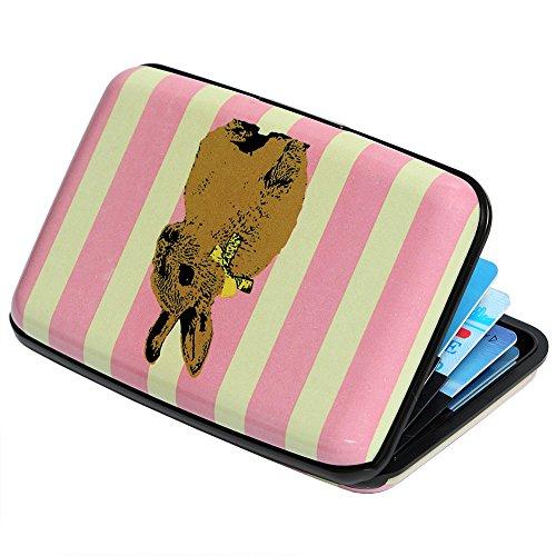 Traveler Case Womens - Credit Card Holder Aluminum Wallet RFID Blocking Slim Metal Hard Case (Rabbit on Vertical Stripes)