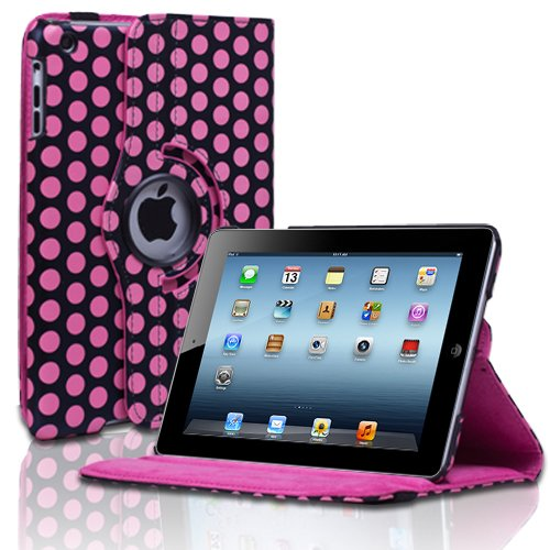 CE Compass Swivel-N-Go 360 Rotating Leather Case Cover Stand For Apple iPad Mini Polka Dot Pattern (Pink)