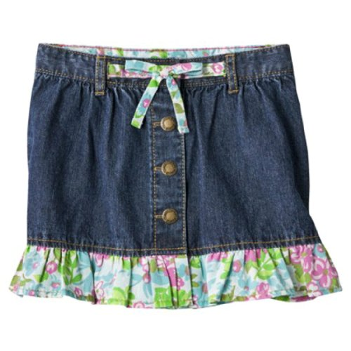 Genuine Baby By Oshkosh Toddler Girls Amsterdam Wash Flower Jeans Skirt (5T)