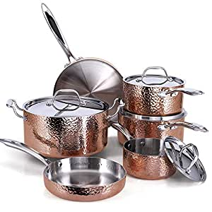 Oprah Suggested Her Favorite Things - Fleischer & Wolf Seville Series Cookware Set (10-Piece) - Tri-ply Hammered Stainless Steel Copper-Oven and Grill safe Kitchen Pots and Pans Set