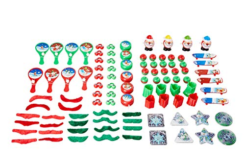 Christmas Toys Party Pack - 100-Piece Assorted Holiday Party Favors, Kids Novelty Goodie Gift Bag, Stocking Stuffers, Classroom Game Prizes for Boys and Girls ()
