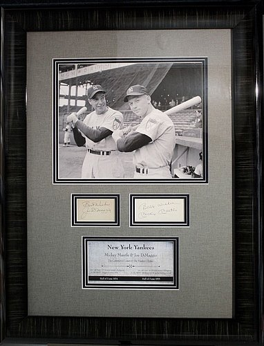 [Rare-Mickey Mantle/ Joe Dimaggio Yankees Framed Cut Signature Display- - JSA Certified] (Mickey Mantle Signature)
