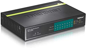 TRENDnet 8-Port Gigabit PoE+ Switch, TPE-TG80G, 8 x Gigabit PoE+ Ports, 123 W PoE Power Budget, 16 Gbps Switching Capacity, Desktop Switch, Ethernet Network Switch, Metal, Lifetime Protection,Black