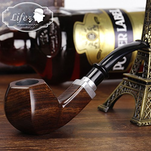 Ebony Wooden Tobacco Pipe Smoking Pipe With Accessories And Gift Package (Wooden Smoking Pipe)