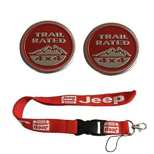New 1pcs Red Jeep Keychain Lanyard Badge Holder + 2pcs set Red Jeep TRAIL RATED 4x4 Nameplate Emblem Badge Sticker Fit For Jeep - Rated Lanyard