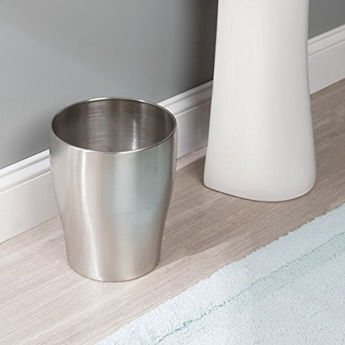 mDesign Round Metal Small Trash Can Wastebasket, Garbage Container Bin for Bathrooms, Powder Rooms, Kitchens, Home Offices - Durable Stainless Steel with Polished Finish