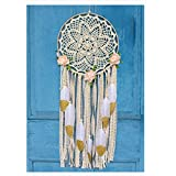 EasyBravo Large Boho Dream Catcher with Glitter Gold Feather Macrame Wall Hanging for Vintage Wedding Home Decorations 27.6'' Long