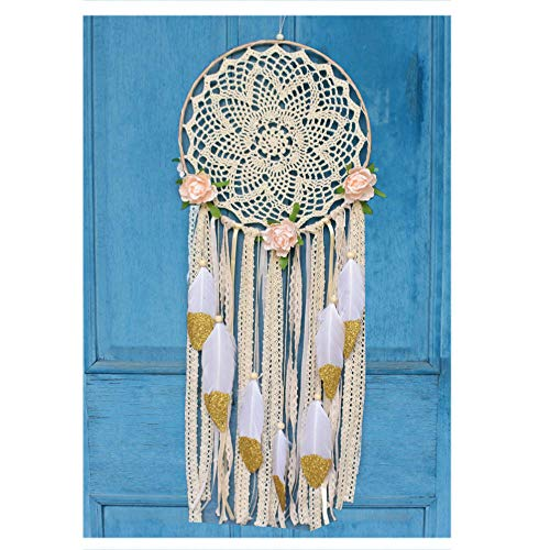 EasyBravo Large Boho Dream Catcher with Glitter Gold Feather Macrame Wall Hanging for Vintage Wedding Home Decorations 27.6