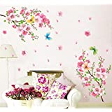 BIBITIME 2 Branches Peach Blossom Wall Stickers 4 Butterflies Sticker Decor Decals PVC Removable Bedroom Home Background Applique Papers Art Murals,DIY Size: 82.68 x 70.87 IN